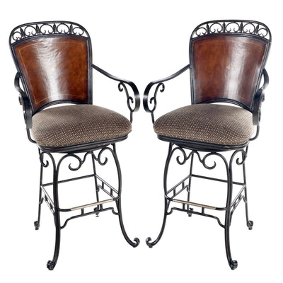 Pair of Contemporary Patinated and Scrolled Iron Swivel Bar Stools