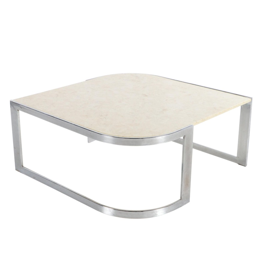 Modernist Chrome and Polished Stone Coffee Table, Late 20th Century