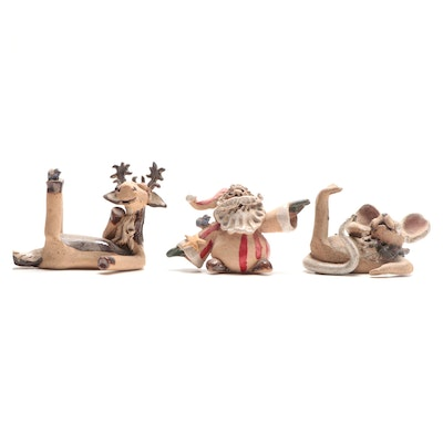 Folk Art Pottery Christmas Figurines, Late 20th to 21st Century