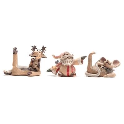 Folk Art Pottery Christmas Figurines, Late 20th to 21st Century
