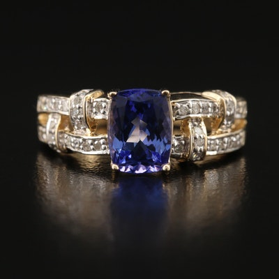 14K Tanzanite and Diamond Basket Weave Ring