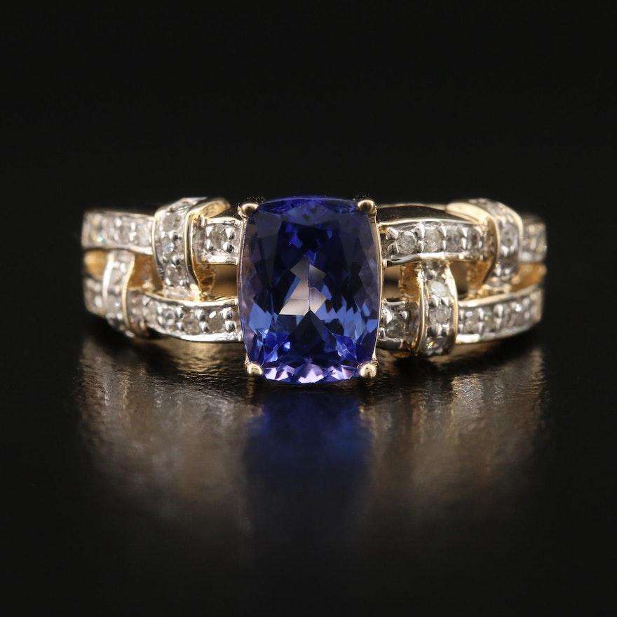 14K Tanzanite and Diamond Basket Weave Ring