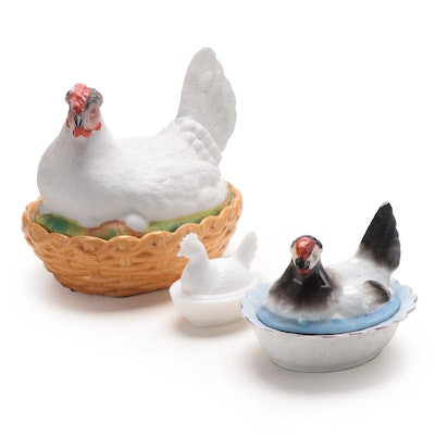 Three Antique Hen-on-Nest Covered Bowls