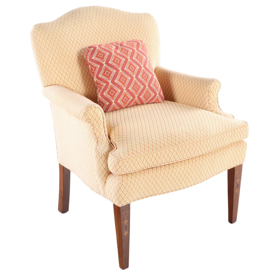 Clyde Pearson Co. Federal Style Upholstered Mahogany and Marquetry Armchair