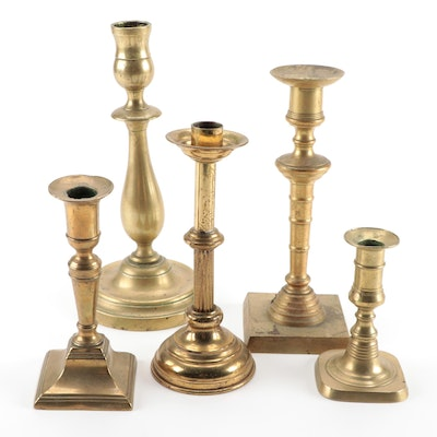 Five Brass Candlesticks