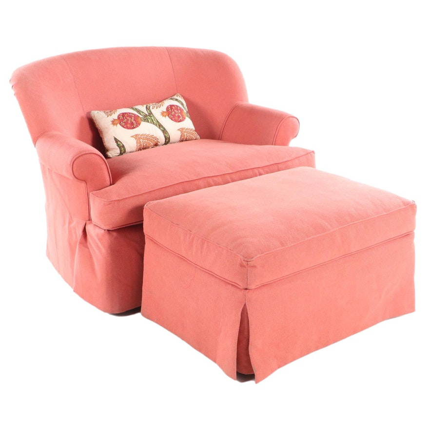 Wesley Hall Inc. Custom-Upholstered Chair-and-a-Half with Ottoman