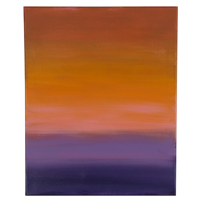 "Sanna Acrylic Painting ""Purple Sunset,"" 2021"