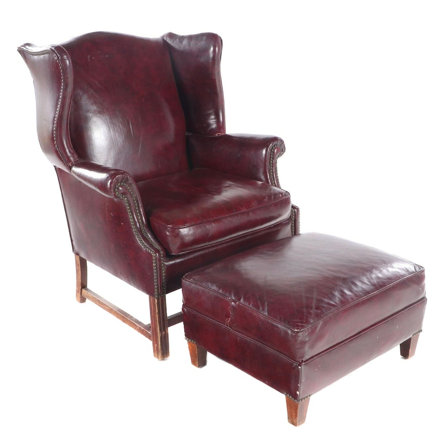 Jones Upholstery Chippendale Style Studded Leather Wingback Armchair and Ottoman