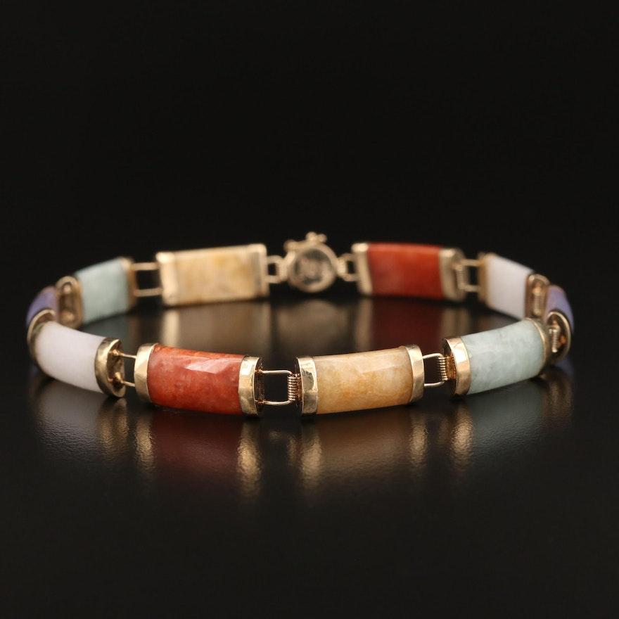 14K Multi-Colored Jadeite Bar Link Bracelet