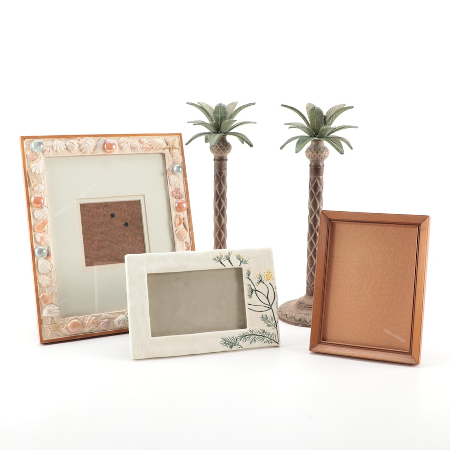 Beach Motif Candlesticks and Decorative Picture Frames
