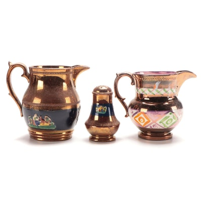 Ye Olde Gold Luster and Other Copper Luster Banded Pitchers