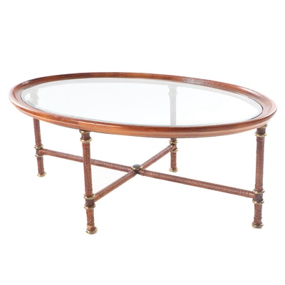 Glass Top Coffee Table with Braided Leather Wrapped Base, Late 20th Century
