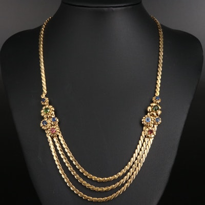 Vintage 18K Sapphire and Tourmaline Festoon Necklace