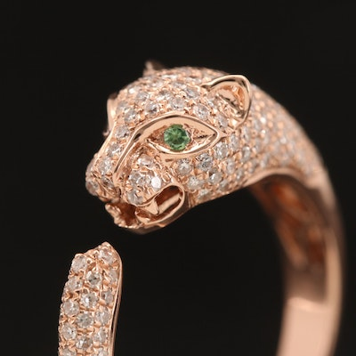EFFY 14K Rose Gold Diamond and Tsavorite Leopard Split Shank Ring