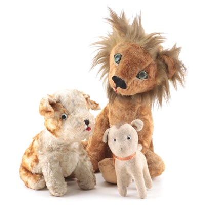 Lion and Dog Stuffed Toys, Vintage