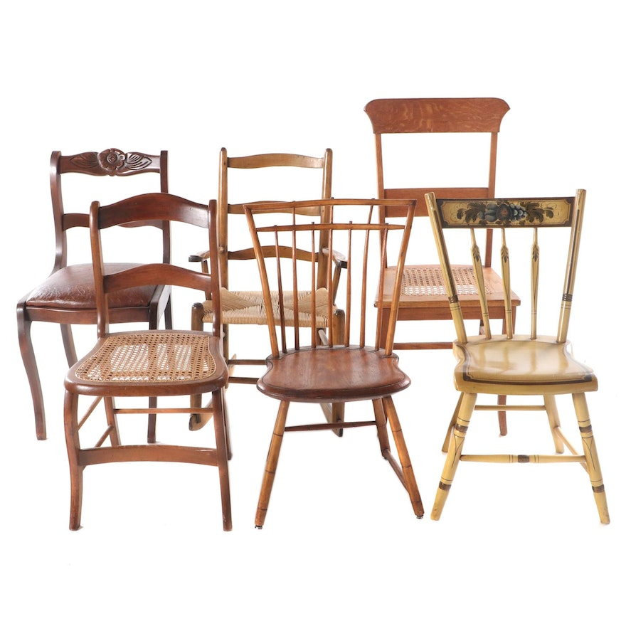 Group of Five Side Chairs Plus Rocker, 19th/20th Century