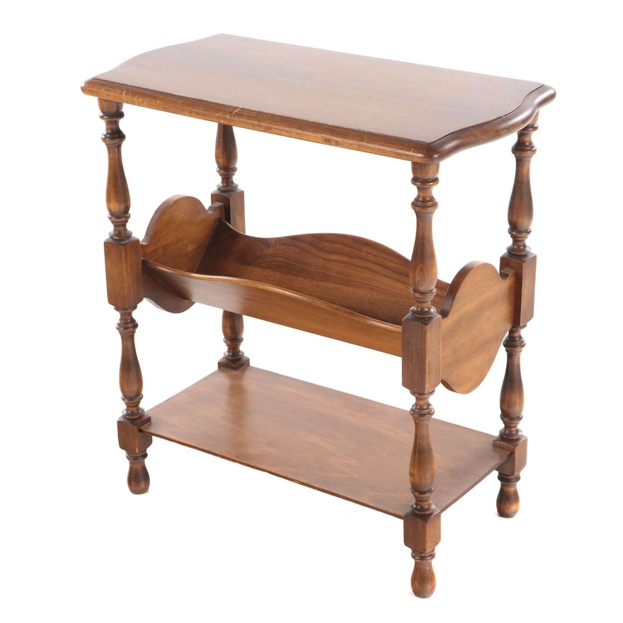 Queen Anne Style Walnut-Stained Three-Tier Side Table with Book Trough