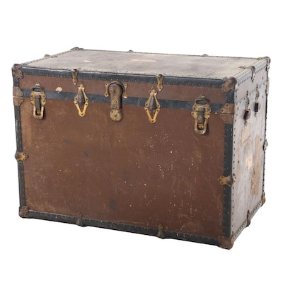 Belber Metal-Bound Wood Steamer Trunk, Early 20th Century