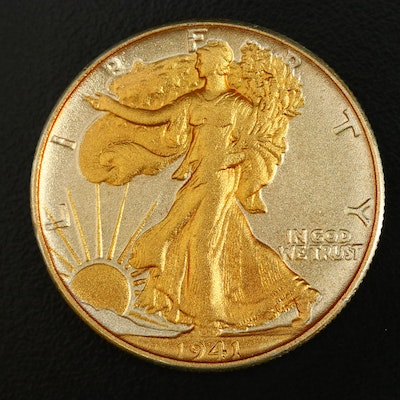 Gold Plated 1941 Walking Liberty Silver Half Dollar