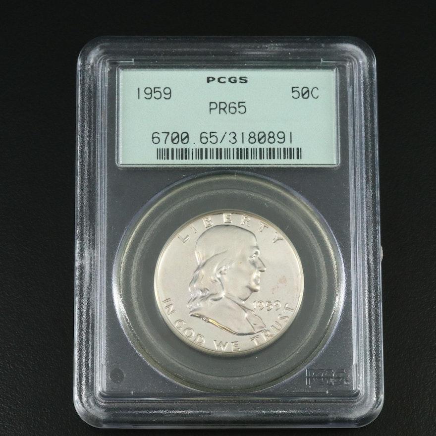 PCGS Graded PR65 1959 Silver Proof Franklin Half Dollar