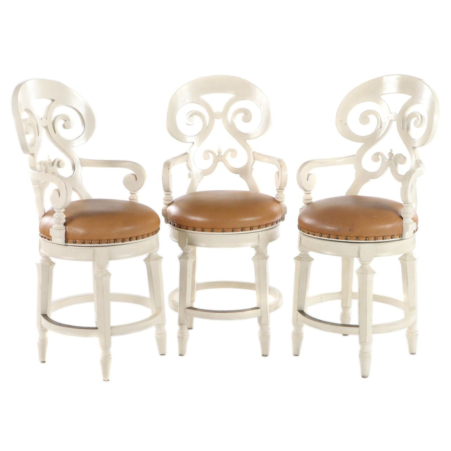 Three Frontgate Painted and Studded Leather Counter-Height Swivel Bar Stools