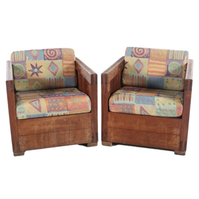 "Pair of Pine Box-Form Armchairs with ""Wow Confetti"" Cushions, Late 20th Century"