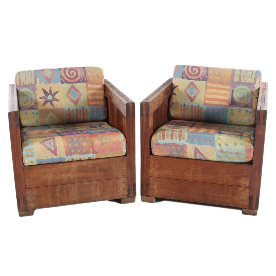 """Pair of Pine Box-Form Armchairs with """"Wow Confetti"""" Cushions, Late 20th Century"""