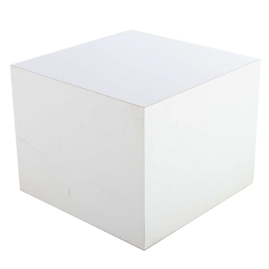 Modernist Style White Laminate-Wrapped End Table