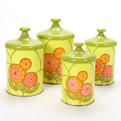 Joan Stevens Floral Printed Aluminum Lidded Canisters, 1960s