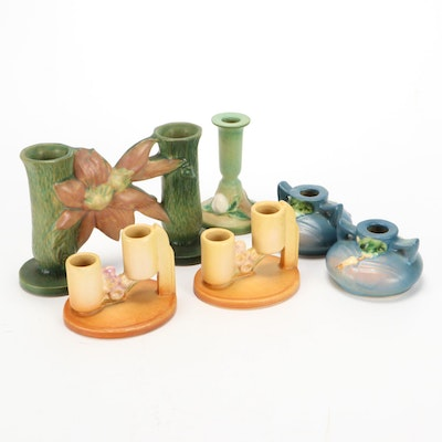 "Roseville Pottery Candle Holders Including ""Snowberry,"" ""Ixia,"" and More"
