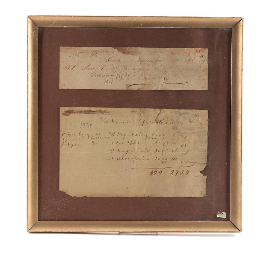 Toledo, St Louis & Kansas City Railroad Framed Freight Bill Receipts, 19th C.