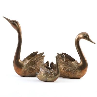 Korean Brass Swan Form Planters, Mid-20th Century