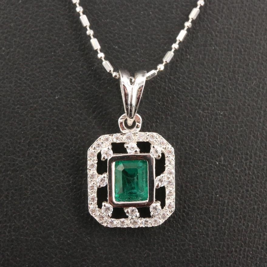 18K 1.24 CT Emerald and Diamond Pendant Necklace