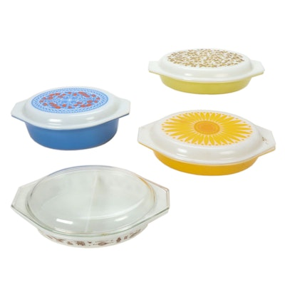 "Pyrex ""Verdé"", ""Daisy"" and Other Lidded Baking Dishes, Mid to Late 20th Century"