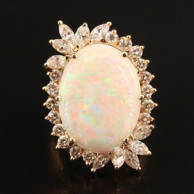 14K 7.60 CT Opal and 1.96 CTW Diamond Statement Ring