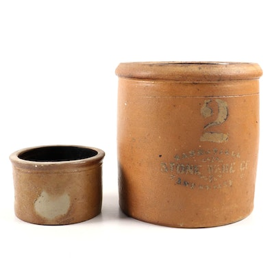 Zanesville 2-Gallon Stoneware Crock and Small Crock