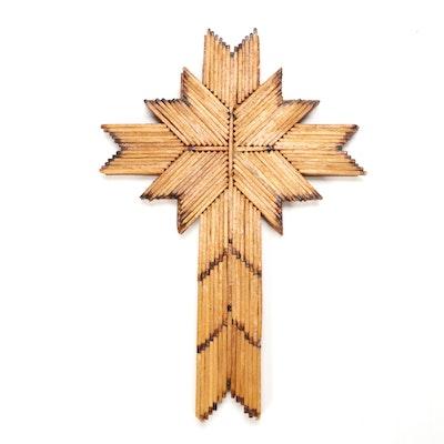 Tramp Art Burnt Match Cross, Mid-20th Century