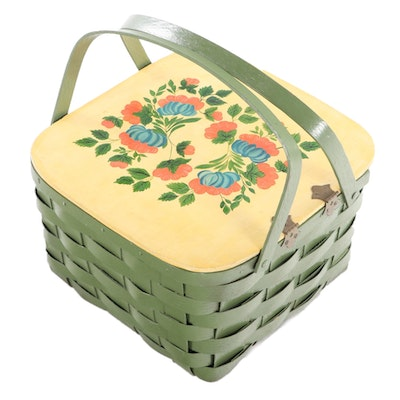 Painted Wood and Wicker Picnic Basket, Mid 20th Century