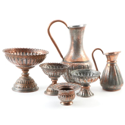 Egyptian Tinned Copper Compotes and Pitchers, Mid to Late 20th Century