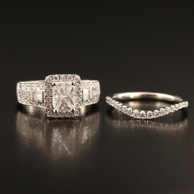 14K 1.01 CTW Diamond Ring with 14K Diamond Shadow Band