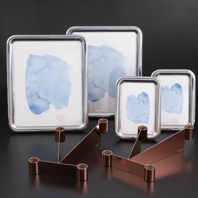 "Georg Jensen ""Tableau"" Picture Frames with ""Urkiola"" Candlestick Holders"
