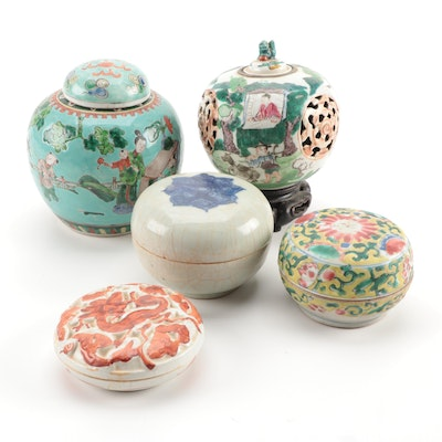 Five Chinese Covered Jars and Seal Paste Boxes