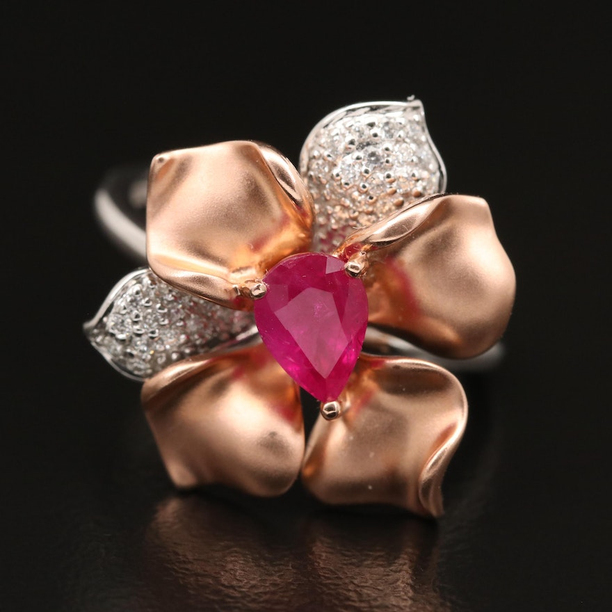 EFFY 14K Ruby and Diamond Flower Ring with Rose Gold Accents