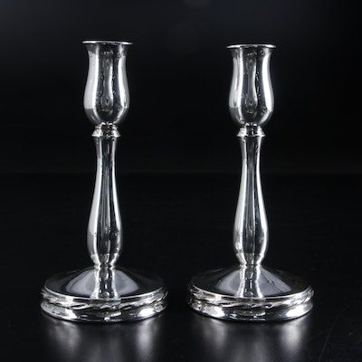 "Towle ""Silver Flutes"" Weighted Sterling Silver Candlesticks, Mid to Late 20th C."