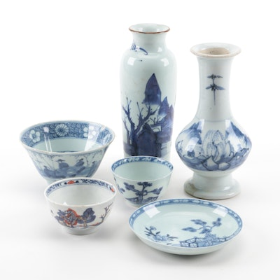 Chinese Blue and White Porcelain Vases and Bowls