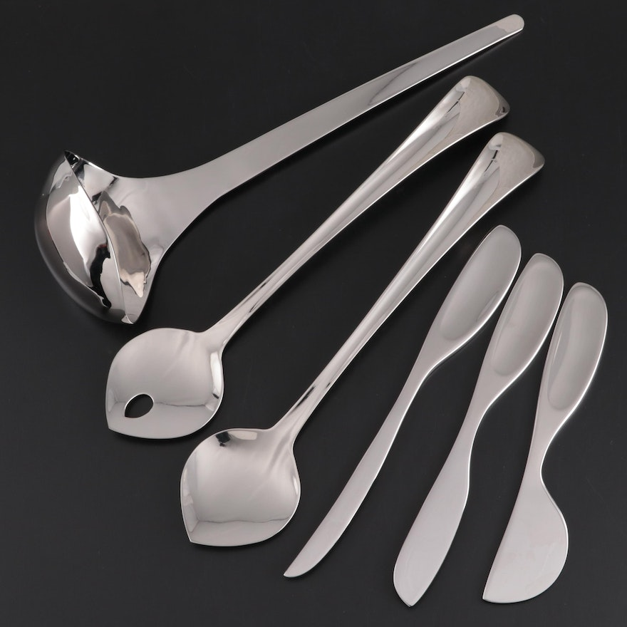 Georg Jensen Stainless Steel Ladle, Cheese Knives and Salad Servers