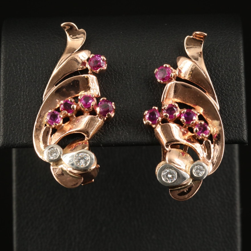 Retro Style 14K Rose Gold Diamond and Ruby Earring with Palladium Accents