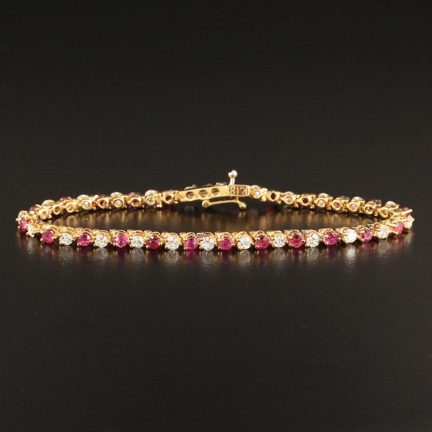 18K 1.80 CTW Diamond and Ruby Line Bracelet