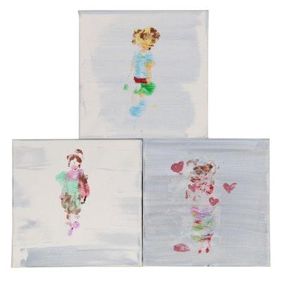 "Stamatia (Age 7) Acrylic Painting Triptych ""Dolls"""