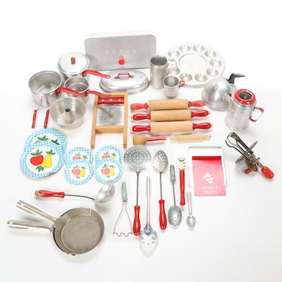 Pretend Play Tin and Wooden Kitchen Gadgets, Mid-20th Century